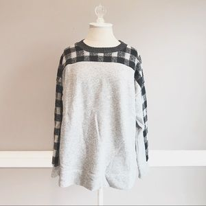 Madewell Wool Buffalo Check Shoulder Pullover